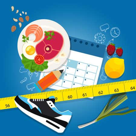 diet plan: diet plan weight loss program exercise healthy food calendar slim illustration