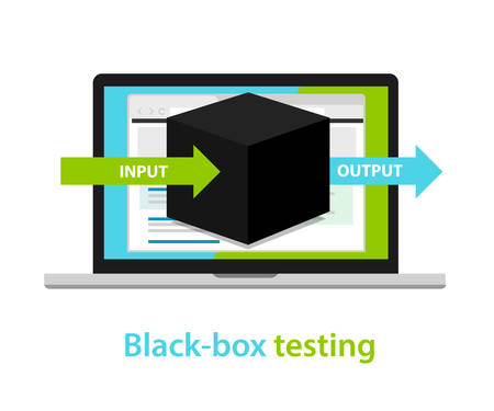 black box testing input output process  software development process methodology Stock Illustratie