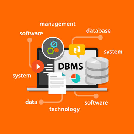 computer system: dbms database management system concept computer data symbol vector illustration concept flat