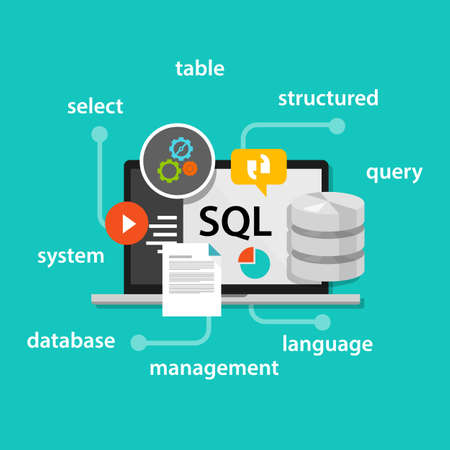 Sql Structured Query Language databank symbool vector illustratie concept van flat Stockfoto - 54027643