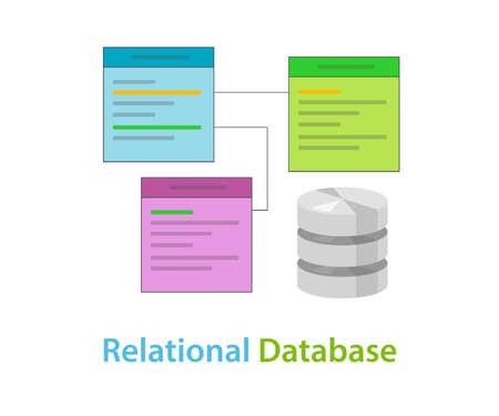 relationnelle table de données de base de données vecteur de symboles liés illustration concept de plat Vecteurs