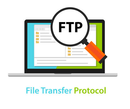 FTP file transfer protocol computer icon symbol illustration vector Illusztráció