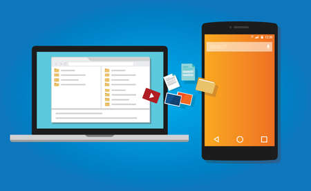 file transfer: file transfer copy document to mobile phone from computer icon symbol illustration vector Illustration