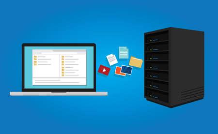 copia los datos del documento de protocolo de transferencia de archivos FTP desde el ordenador portátil a icono de servidor de símbolos ilustración vectorial