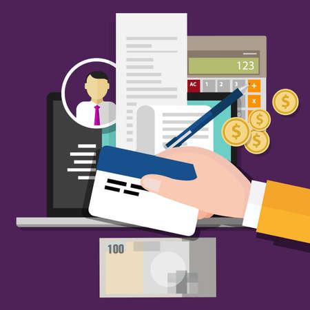 impuestos: Identificación del impuesto pago con tarjeta de ilustración vectorial número de identificación Vectores