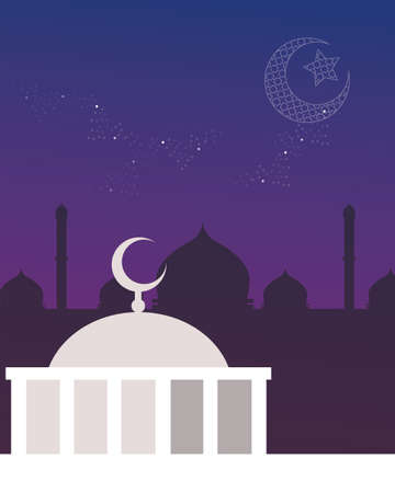 dome: mosque dome night sky crescent and stars islam vector