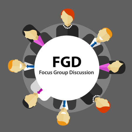 focus: FGD focus group discussion get customer feedback marketing market survey research vector
