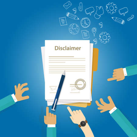 disclaimer  contract document signed vector paper legal