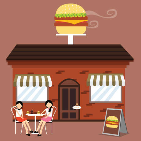 meals: customer in front of burger shop enjoy meals with friends Illustration