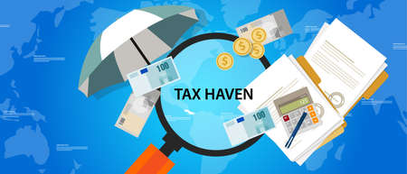 tax haven country finance business illustration money protection vector  イラスト・ベクター素材