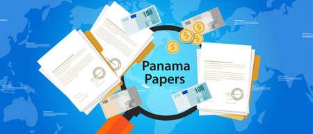 launder: panama papers leaked document money laundering crime vector Illustration