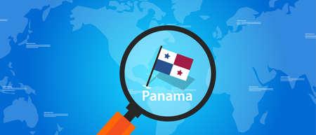 bandera de panama: Panamá ubicación mapa del mundo de cristal de la bandera de vectores lupa