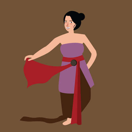traditional culture: Javanese java woman traditional dance performance move Indonesia culture vector