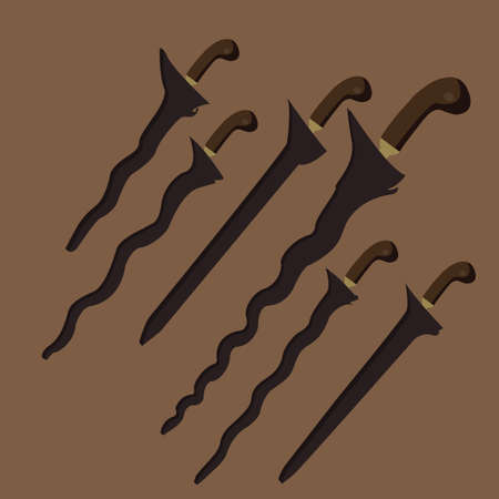 traditional weapon: keris kris traditional weapon knife swords from Java Indonesia Malaysia Bali vector set Illustration