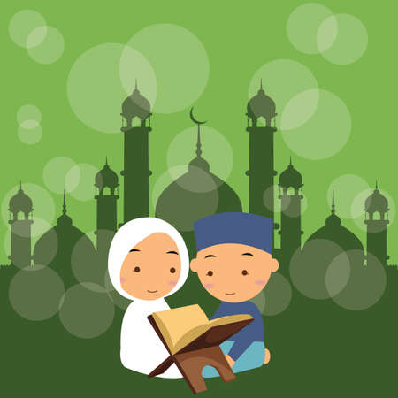kuran: kids boys and girls read holy quran qoran Islam in mosque vector Illustration