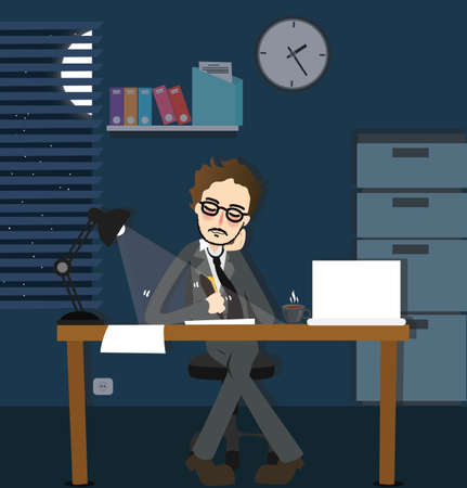 businessman in office: man working late night deadline in office alone dark overtime  sitting desk with lamp vector