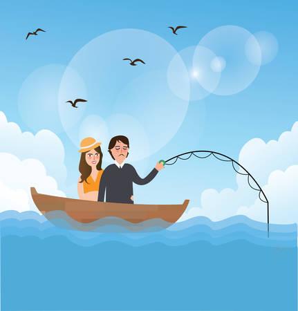 mosca caricatura: hombre mujer pareja ir a pescar en el barco juntos el romance momento romántico actividades al aire libre en el agua del vector