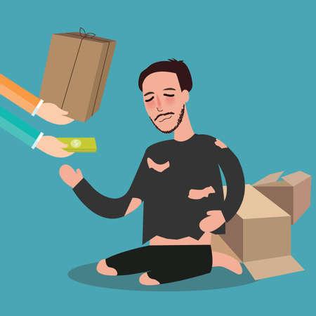 man begging: giving money to poor homeless living in card board beggar  zakat concept giving in islam vector