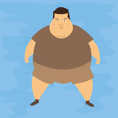 belly fat: man obese obesity fat belly not healthy overweight character illustration vector
