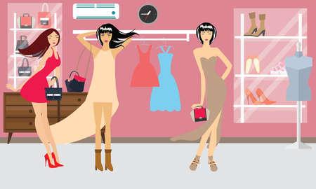 fashion boutique: girls woman shopping fashion boutique model beauty lifestyle shoes vector Illustration