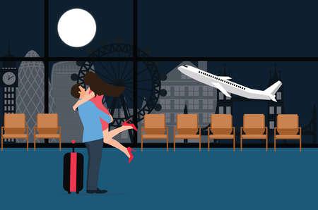 despedida: pareja se conoce en el aterrizaje del aeropuerto de salida despegar amor la noche de despedida de vectores de fondo plano