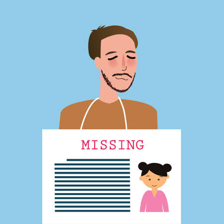 man holding sign: man holding sign of missing children kids announcement board vector