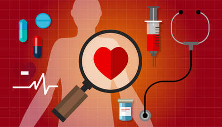 chest disease: heart failurea disease healthy red pulse problem medication vector