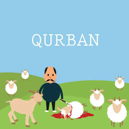 slaughtering: qurban sacrifice kill goat lamb in islam idul adha Udhiyyah livestock animal during Eid al-Adha vector