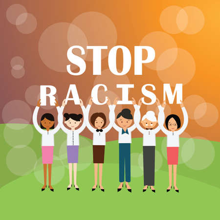 multi racial: stop racism multi ethnicity group of people holding sign againts racial discrimination movement vector Illustration