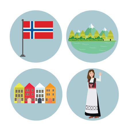 Norway icon Norwegian flag mountain building and girls in traditional costume clothes vector Stock Illustratie