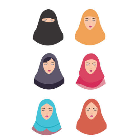 tradition: woman wear hijab veil islam tradition islamic illustration vector headscarf vector