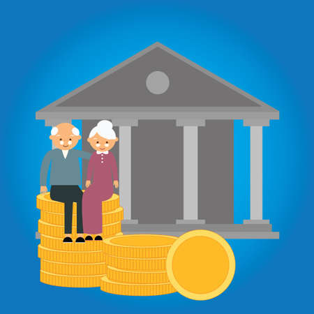 pension: pension retirement fund coin money senior investment finance preparation investment money savings vector Illustration