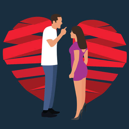 break up relationship broken heart couple man woman  fight symbol vector