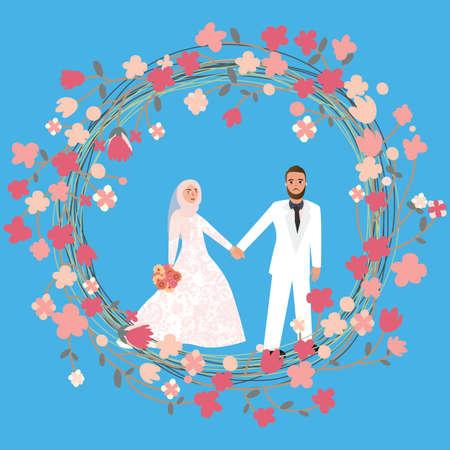 casados: hombre mujer pareja en la relación de matrimonio en el Islam que llevaba pañuelo en la cabeza velo hijab vectorial