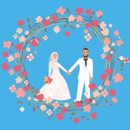muslim fashion: man woman couple in relationship marriage in Islam wearing head scarf hijab veil vector