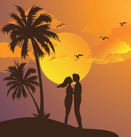romanticismo: coppia che si bacia silhouette tramonto sulla spiaggia momento romantico cielo giallo palma vettore
