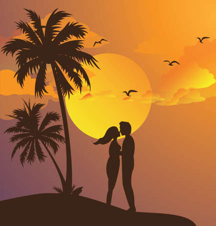 yellow sky: couple kissing silhouette sunset on beach romantic moment yellow sky palm tree vector