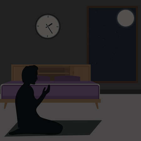 pray: muslim praying at night tahajud silhouette islam muslim sitting vector
