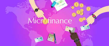 financing: microfinance micro financial solution social financing model lending money vector