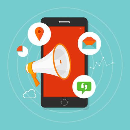Annunci mobile phone pubblicità digitale click marketing Archivio Fotografico - 55582953