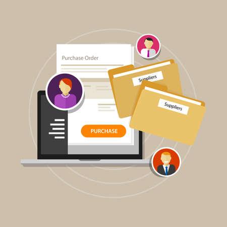 online procurement e-procurement procure internet laptop vector