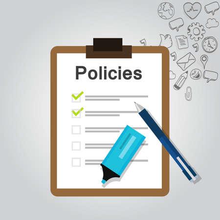 regulación de las políticas de lista de documento de la compañía concepto vector portapapeles