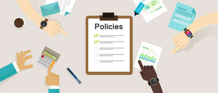 regulation: policies regulation concept list document company clipboard vector