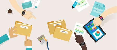 procurement inkoop leveranciersmanagement proces vector selectie Vector Illustratie