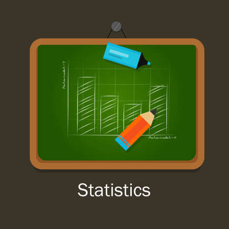 subject: statistics subject chart chalk on board with pencil class education