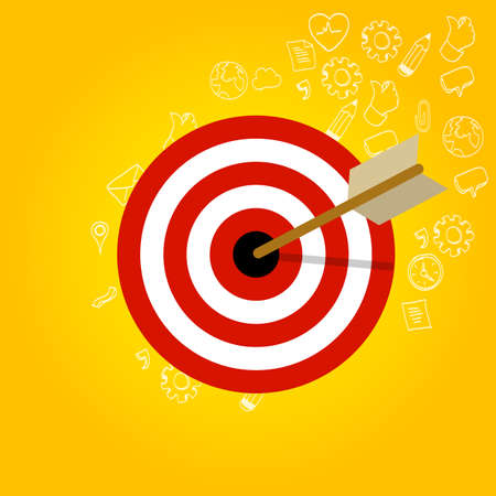 targeted: targeting customer head mind niche target market marketing concept business vector