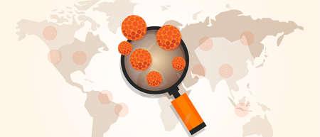 salud publica: brote del virus de propagación de la pandemia en todo el mapa del mundo ilustración vectorial Vectores
