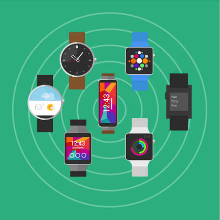 health technology: wearable vector smart watches with icon devices object