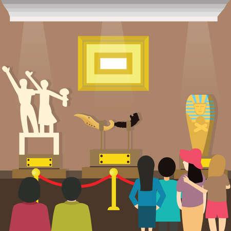 visites des gens à la recherche visiteur du musée peinture et sclupture à l'exposition d'art de vecteur Vecteurs