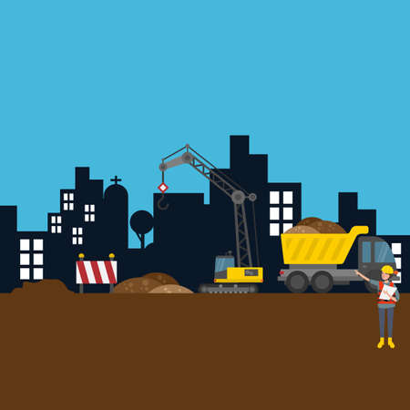 construction icon: road building city construction site worker vector illustration scene Illustration
